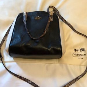 Coach leather bag, black, cream, and snake skin